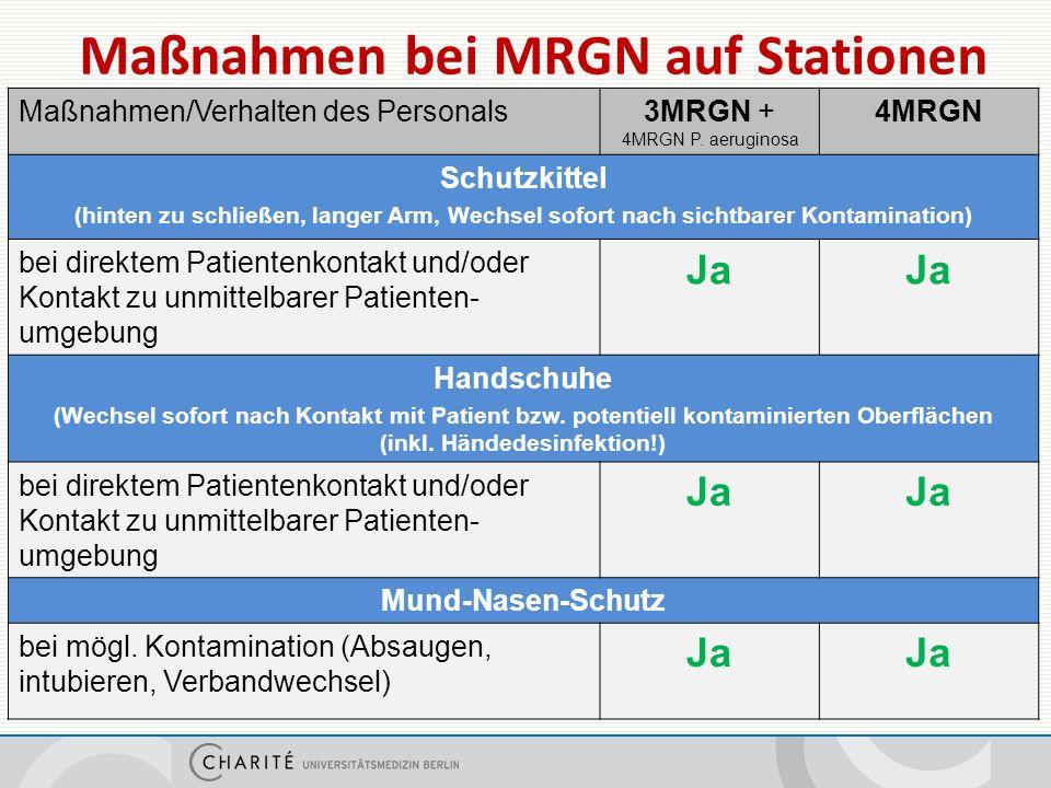 Maßnahmen bei MRGN auf Stationen Maßnahmen/Verhalten des Personals3MRGN + 4MRGN P.
