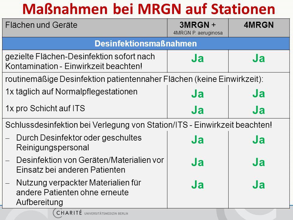 Maßnahmen bei MRGN auf Stationen Flächen und Geräte3MRGN + 4MRGN P.