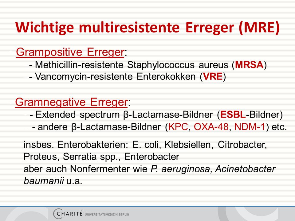 Wichtige multiresistente Erreger (MRE) Grampositive Erreger: –- Methicillin-resistente Staphylococcus aureus (MRSA) –- Vancomycin-resistente Enterokokken (VRE) Gramnegative Erreger: - Extended spectrum β-Lactamase-Bildner (ESBL-Bildner) – - andere β-Lactamase-Bildner (KPC, OXA-48, NDM-1) etc.