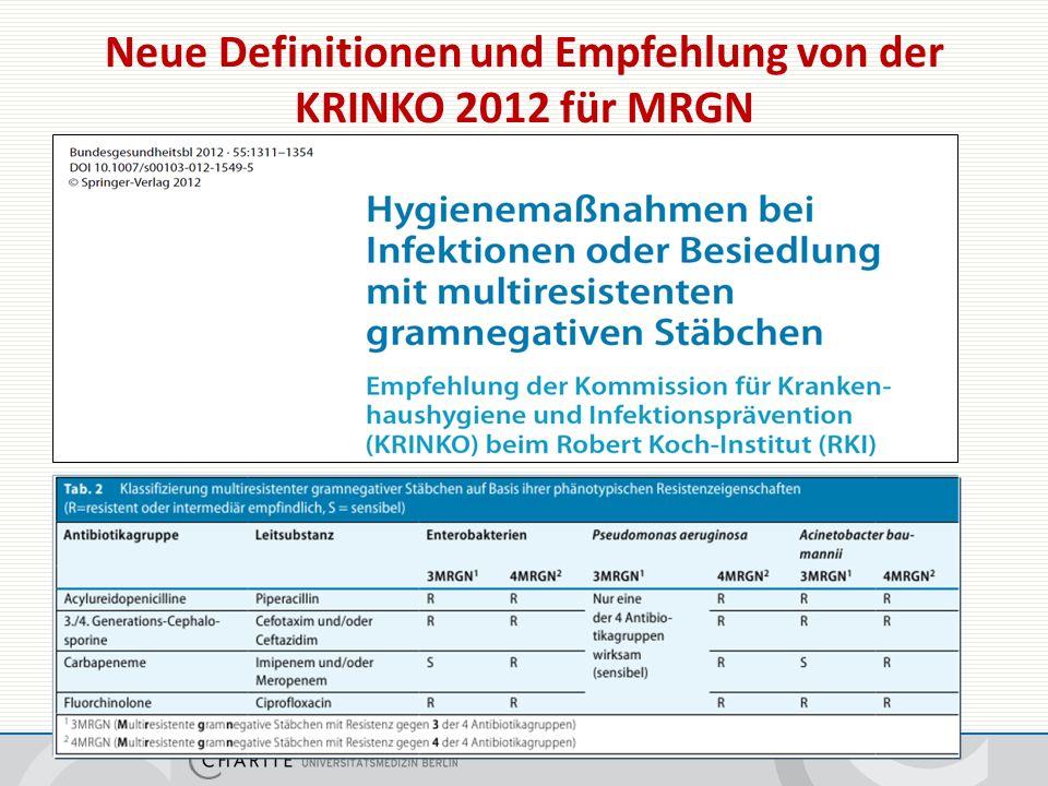 Neue Definitionen und Empfehlung von der KRINKO 2012 für MRGN