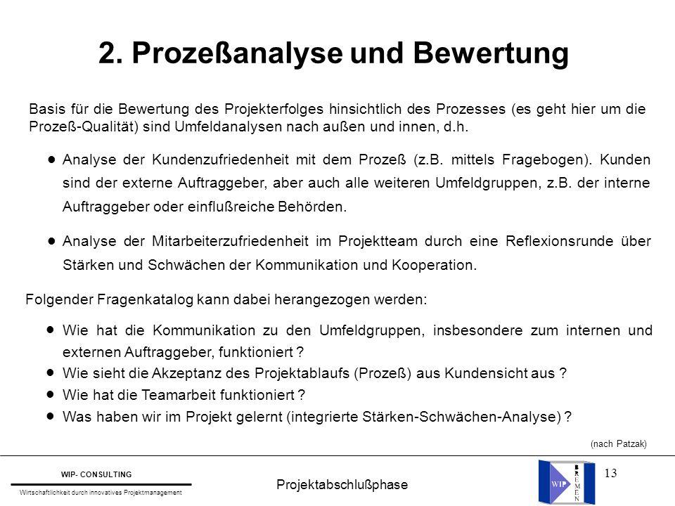 13 Projektabschlußphase WIP- CONSULTING Wirtschaftlichkeit durch innovatives Projektmanagement 2. Prozeßanalyse und Bewertung Basis für die Bewertung