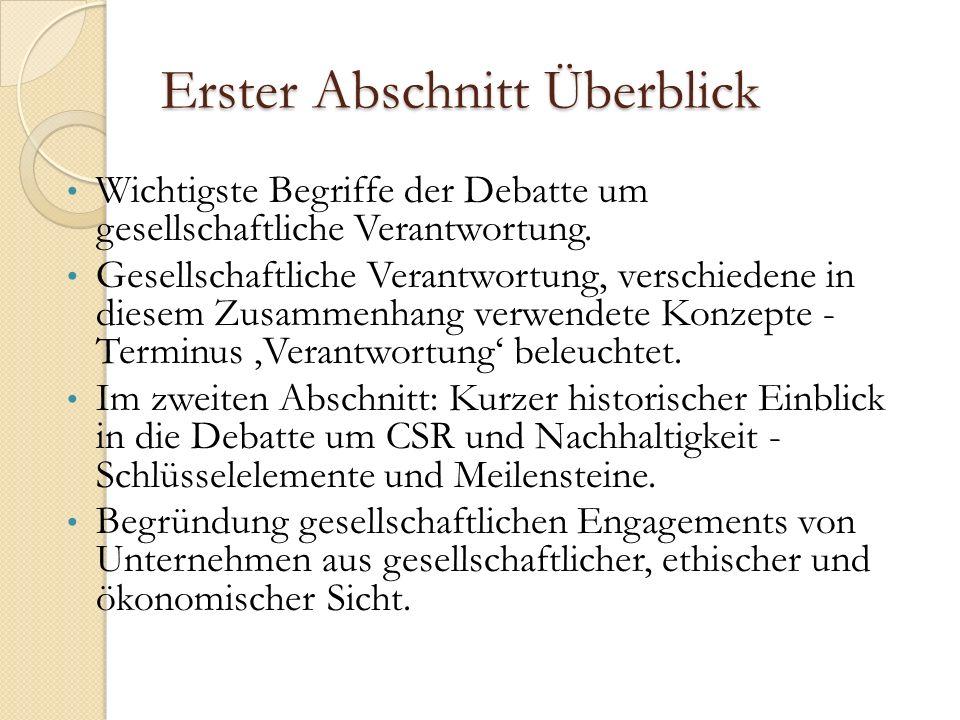 Erster Abschnitt Überblick Wichtigste Begriffe der Debatte um gesellschaftliche Verantwortung.