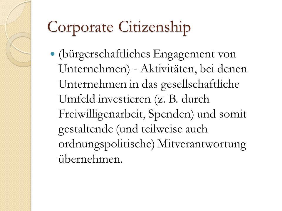 Corporate Citizenship (bürgerschaftliches Engagement von Unternehmen) - Aktivitäten, bei denen Unternehmen in das gesellschaftliche Umfeld investieren (z.