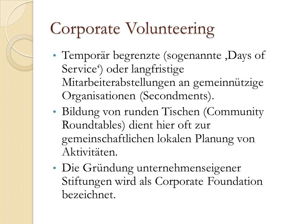 Corporate Volunteering Temporär begrenzte (sogenannte 'Days of Service') oder langfristige Mitarbeiterabstellungen an gemeinnützige Organisationen (Secondments).