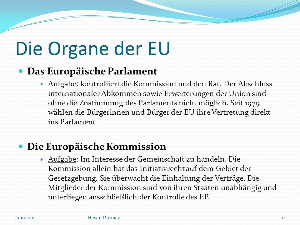 Die Organe der EU Das Europäische Parlament Aufgabe: kontrolliert die Kommission und den Rat.