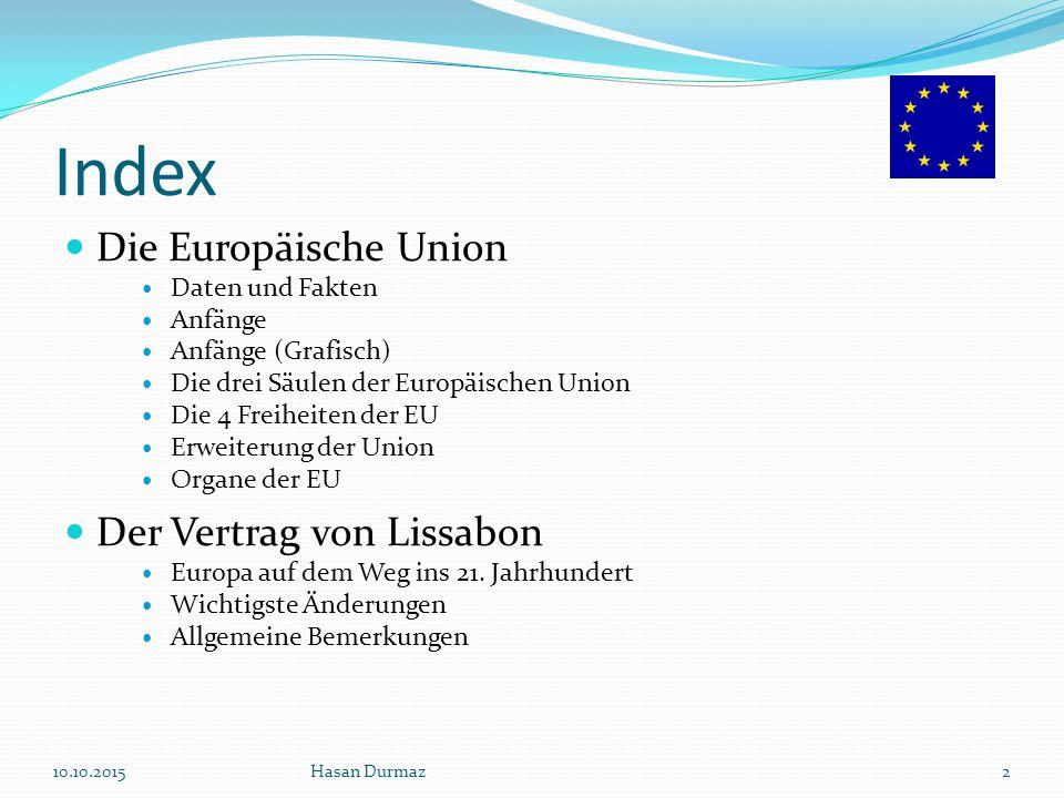 Die Europäische Union - Daten und Fakten 27 Mitgliedstaaten 0,5 Milliarden Einwohner 4,5 Millionen km² eine immer größere politische Macht etwa 50% der weltweiten Export-Import-Geschäfte 10.10.2015Hasan Durmaz3