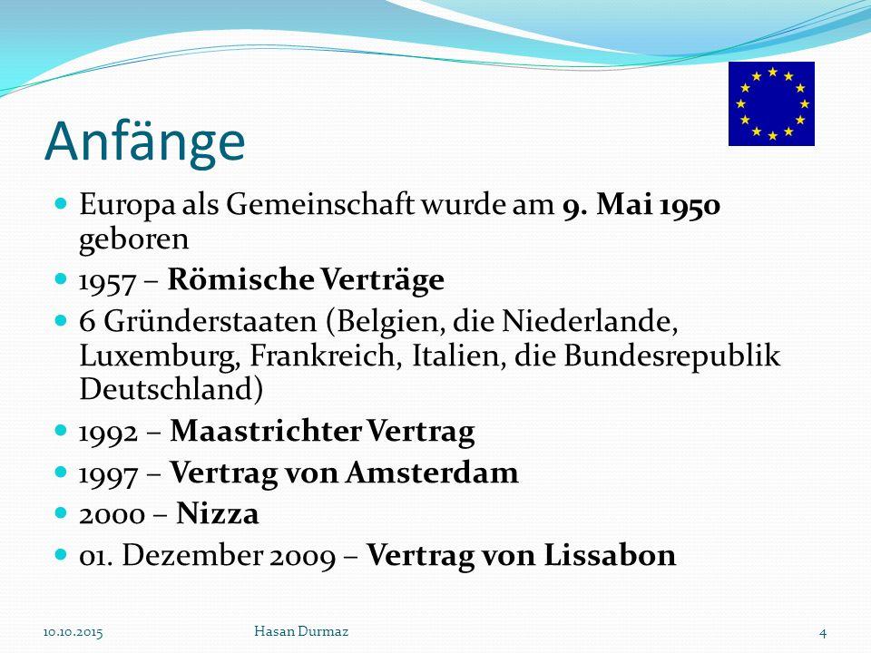 Anfänge (Grafisch) 10.10.2015Hasan Durmaz5 Schuman- Plan 1950 EGKS 1951 (1952) Römische Verträge Gründung EWG+ Euratom 1957 (1958) 6 Mitgliedstaaten Einheitliche Europäische Akte 1986 (1987) Vertrag über die Europäische Union (Maastricht) 1992 (1993)