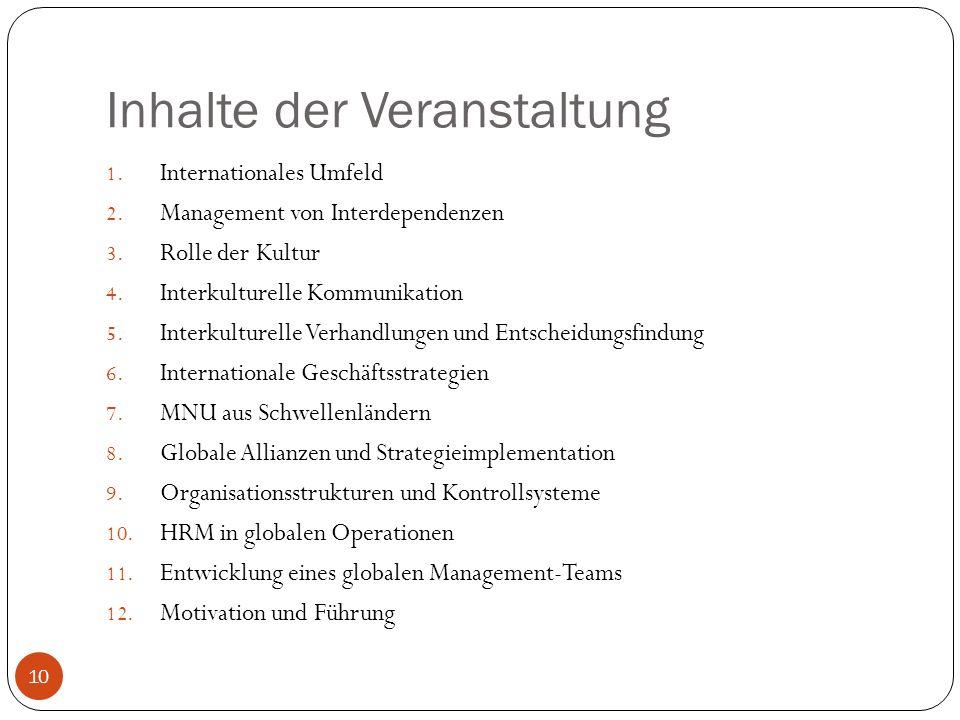Inhalte der Veranstaltung 1. Internationales Umfeld 2. Management von Interdependenzen 3. Rolle der Kultur 4. Interkulturelle Kommunikation 5. Interku