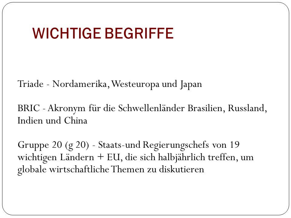 WICHTIGE BEGRIFFE Triade - Nordamerika, Westeuropa und Japan BRIC - Akronym für die Schwellenländer Brasilien, Russland, Indien und China Gruppe 20 (g