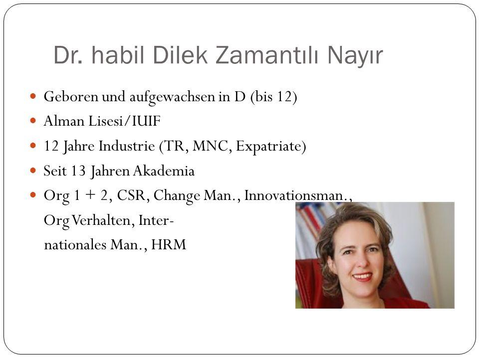 Dr. habil Dilek Zamantılı Nayır Geboren und aufgewachsen in D (bis 12) Alman Lisesi/IUIF 12 Jahre Industrie (TR, MNC, Expatriate) Seit 13 Jahren Akade