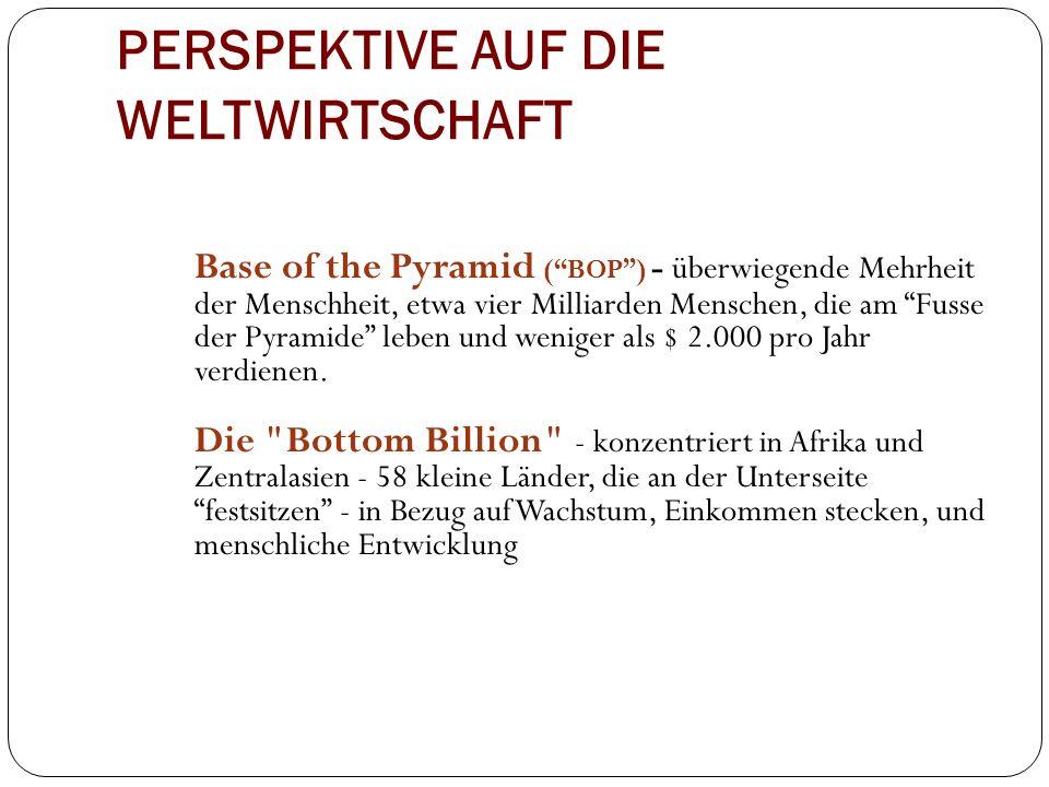 """PERSPEKTIVE AUF DIE WELTWIRTSCHAFT Base of the Pyramid (""""BOP"""") - überwiegende Mehrheit der Menschheit, etwa vier Milliarden Menschen, die am """"Fusse de"""