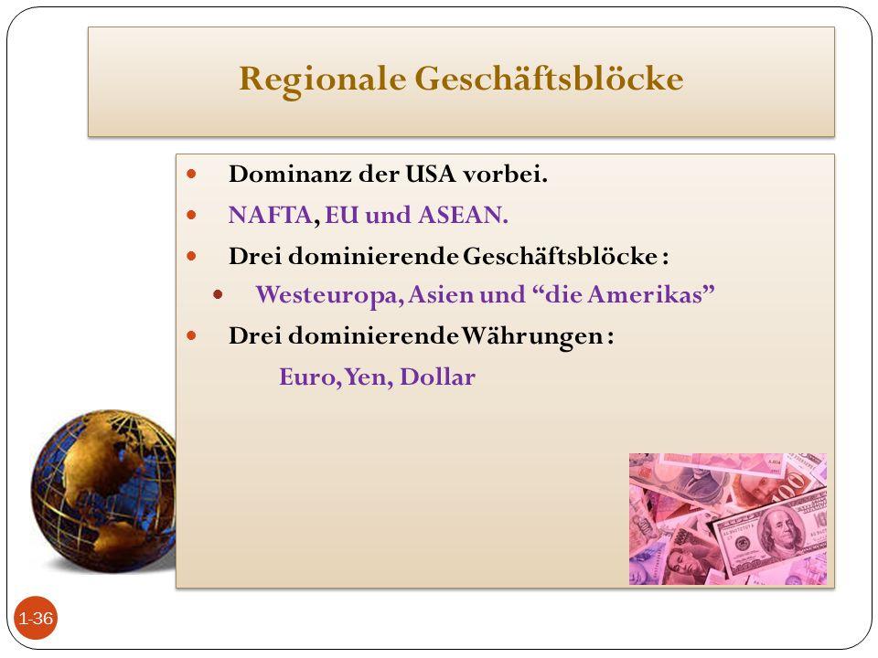 """Regionale Geschäftsblöcke Dominanz der USA vorbei. NAFTA, EU und ASEAN. Drei dominierende Geschäftsblöcke : Westeuropa, Asien und """"die Amerikas"""" Drei"""