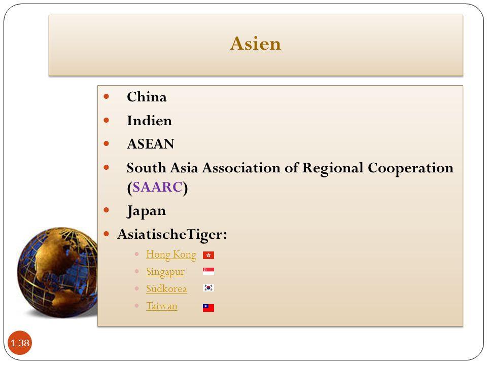 Asien China Indien ASEAN South Asia Association of Regional Cooperation (SAARC) Japan AsiatischeTiger: Hong Kong Singapur Singapur Südkorea Südkorea T