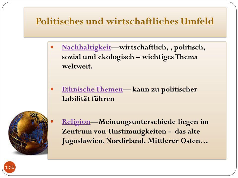 Politisches und wirtschaftliches Umfeld Nachhaltigkeit—wirtschaftlich,, politisch, sozial und ekologisch – wichtiges Thema weltweit. Ethnische Themen—