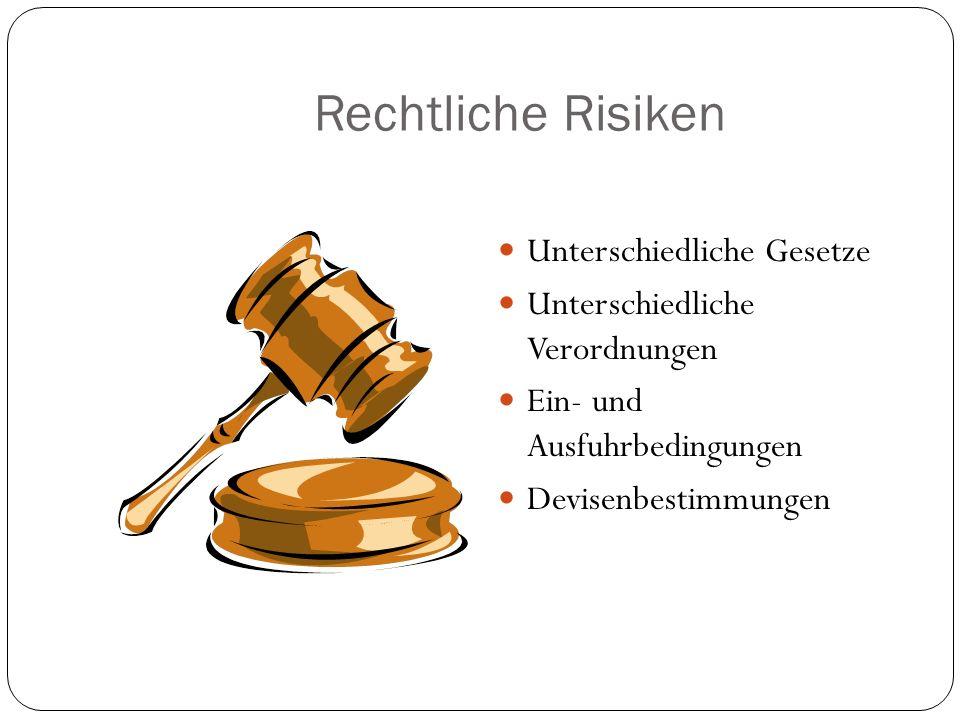 Rechtliche Risiken Unterschiedliche Gesetze Unterschiedliche Verordnungen Ein- und Ausfuhrbedingungen Devisenbestimmungen