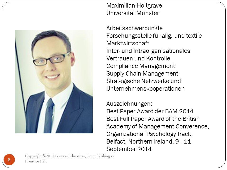 Maximilian Holtgrave Universität Münster Arbeitsschwerpunkte Forschungsstelle für allg. und textile Marktwirtschaft Inter- und Intraorganisationales V