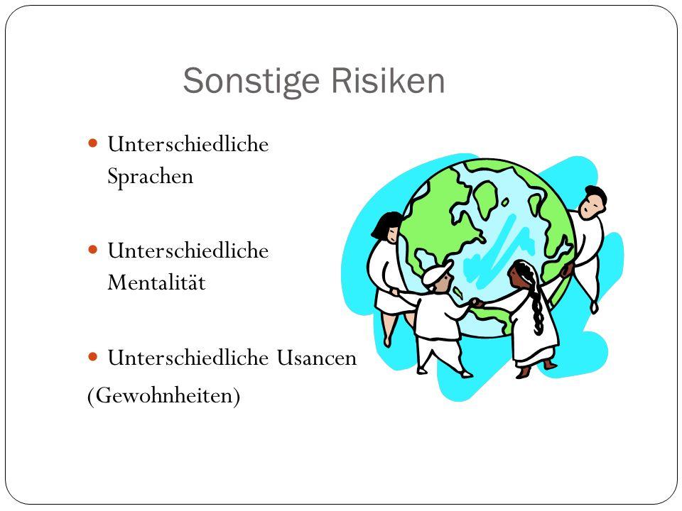 Sonstige Risiken Unterschiedliche Sprachen Unterschiedliche Mentalität Unterschiedliche Usancen (Gewohnheiten)