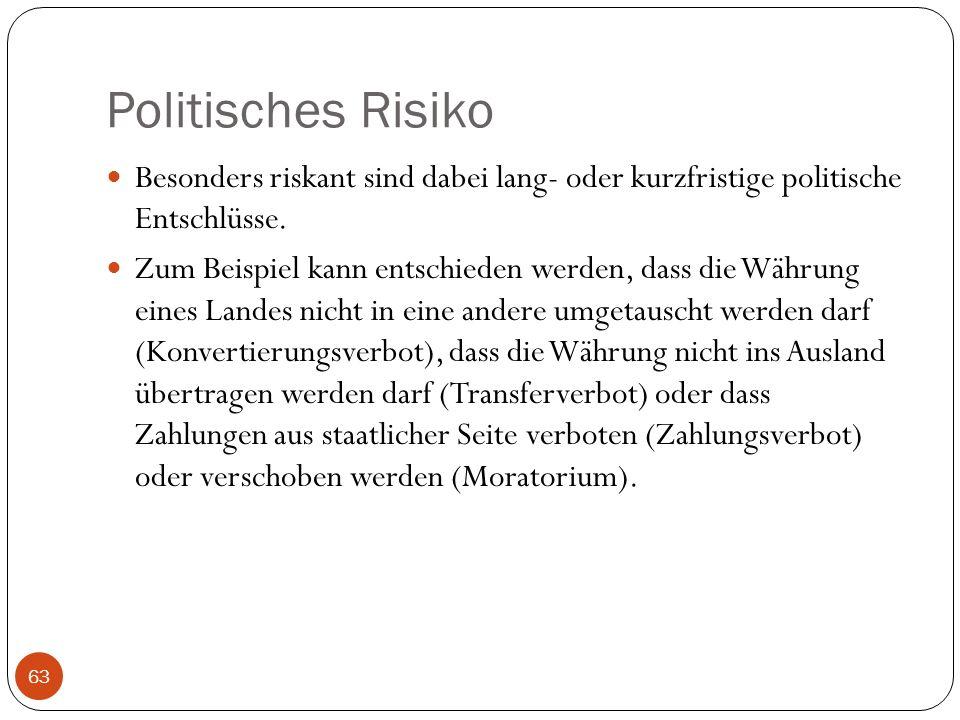 Politisches Risiko Besonders riskant sind dabei lang- oder kurzfristige politische Entschlüsse. Zum Beispiel kann entschieden werden, dass die Währung