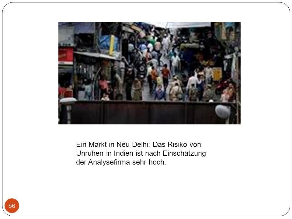 56 Ein Markt in Neu Delhi: Das Risiko von Unruhen in Indien ist nach Einschätzung der Analysefirma sehr hoch.
