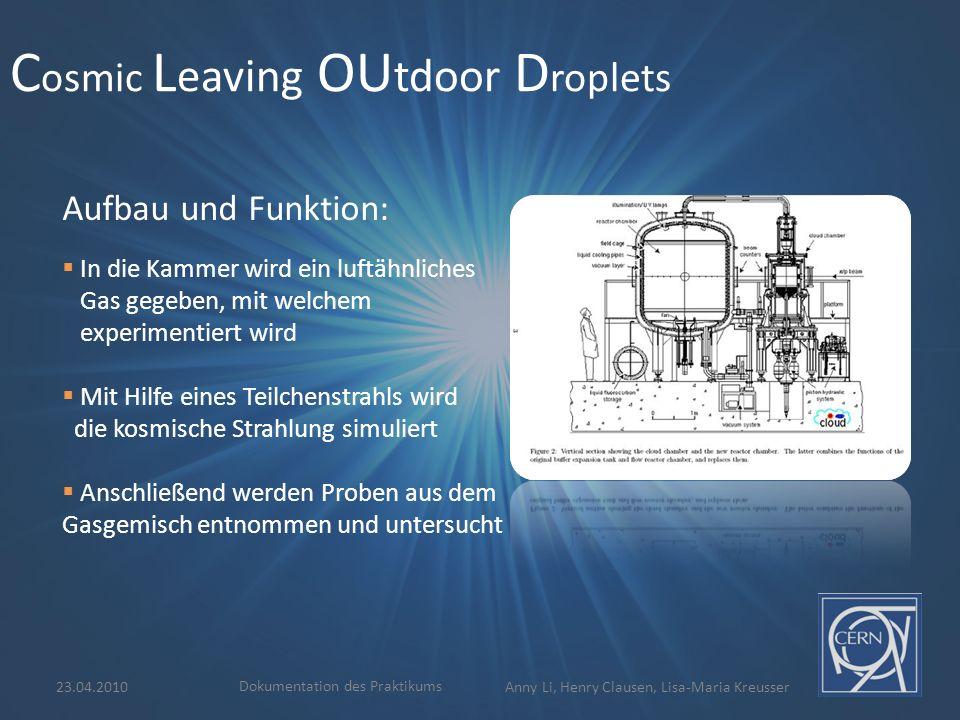 C osmic L eaving OU tdoor D roplets  In die Kammer wird ein luftähnliches Gas gegeben, mit welchem experimentiert wird  Mit Hilfe eines Teilchenstra