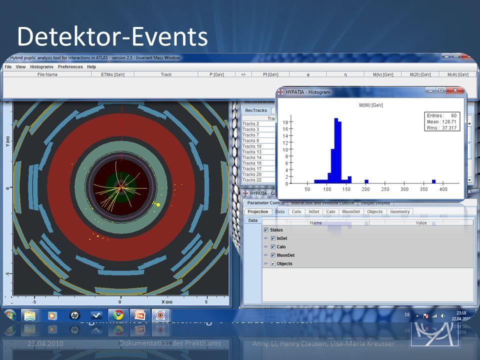 23.04.2010 Dokumentation des Praktikums Anny Li, Henry Clausen, Lisa-Maria Kreusser Detektor-Events Hypatia-Events:  Detektion von Higgs-Teilchen  D