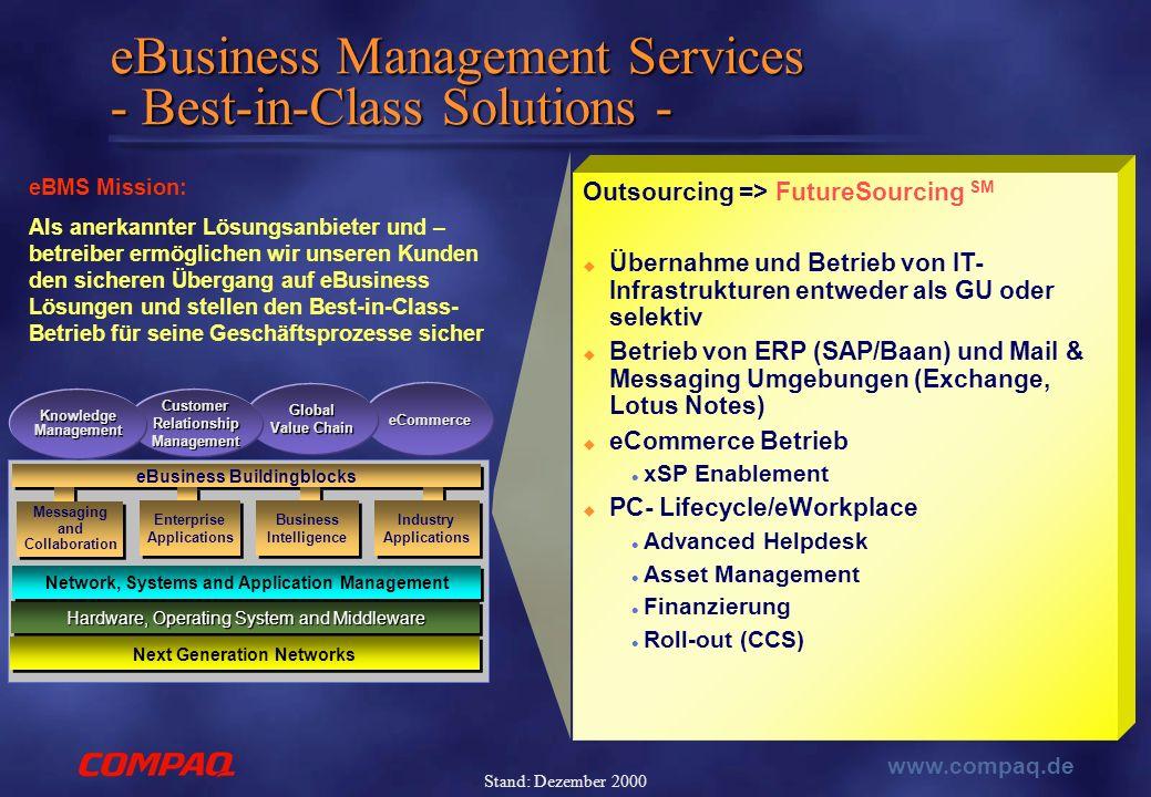 www.compaq.de Stand: Dezember 2000 Outsourcing => FutureSourcing SM  Übernahme und Betrieb von IT- Infrastrukturen entweder als GU oder selektiv  Betrieb von ERP (SAP/Baan) und Mail & Messaging Umgebungen (Exchange, Lotus Notes)  eCommerce Betrieb xSP Enablement  PC- Lifecycle/eWorkplace Advanced Helpdesk Asset Management Finanzierung Roll-out (CCS) eBusiness Management Services - Best-in-Class Solutions - eCommerce Global Value Chain Customer Relationship Management Hardware, Operating System and Middleware Next Generation Networks eBusiness Buildingblocks Enterprise Applications Enterprise Applications Business Intelligence Industry Applications Knowledge Management Messaging and Collaboration Network, Systems and Application Management eBMS Mission: Als anerkannter Lösungsanbieter und – betreiber ermöglichen wir unseren Kunden den sicheren Übergang auf eBusiness Lösungen und stellen den Best-in-Class- Betrieb für seine Geschäftsprozesse sicher