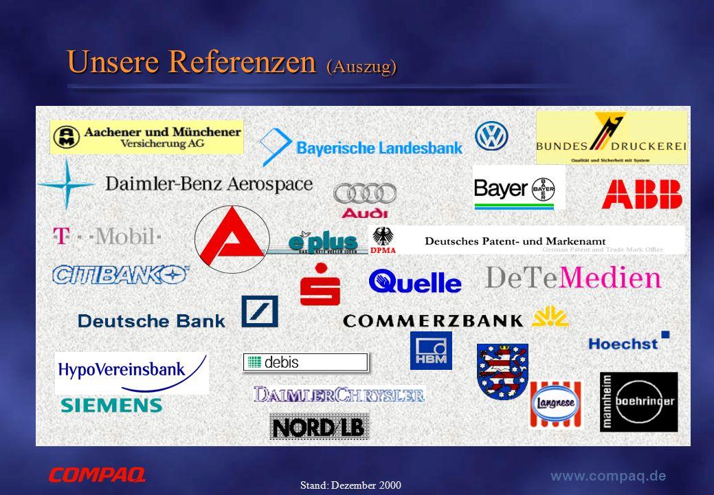 www.compaq.de Stand: Dezember 2000 Unsere Referenzen (Auszug)