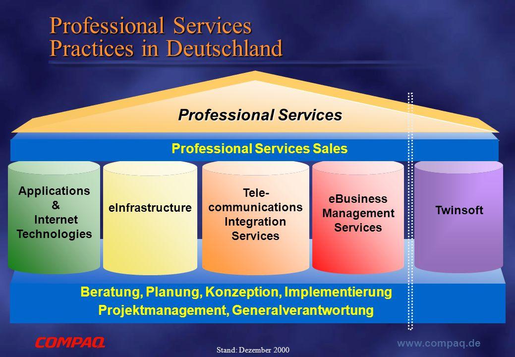 www.compaq.de Stand: Dezember 2000 Professional Services Practices in Deutschland Beratung, Planung, Konzeption, Implementierung Projektmanagement, Ge
