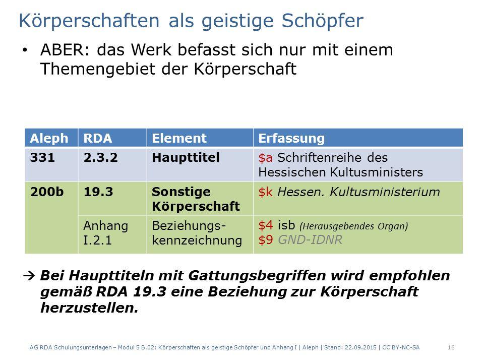 Körperschaften als geistige Schöpfer ABER: das Werk befasst sich nur mit einem Themengebiet der Körperschaft  Bei Haupttiteln mit Gattungsbegriffen wird empfohlen gemäß RDA 19.3 eine Beziehung zur Körperschaft herzustellen.