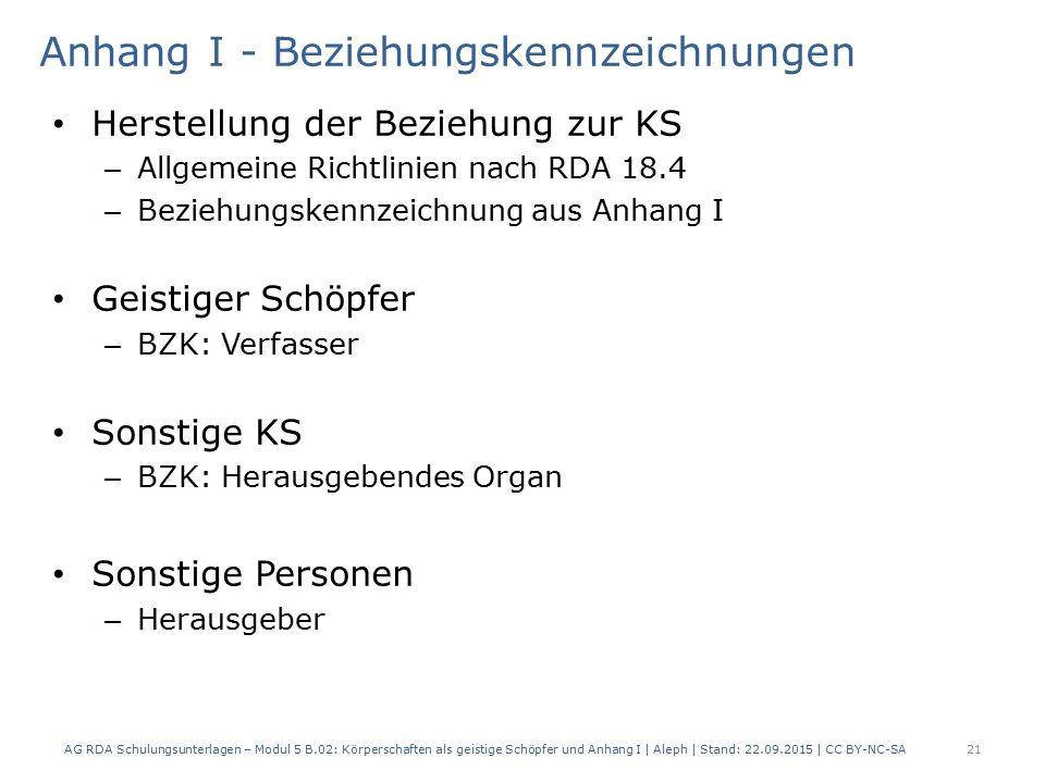 Anhang I - Beziehungskennzeichnungen Herstellung der Beziehung zur KS – Allgemeine Richtlinien nach RDA 18.4 – Beziehungskennzeichnung aus Anhang I Ge