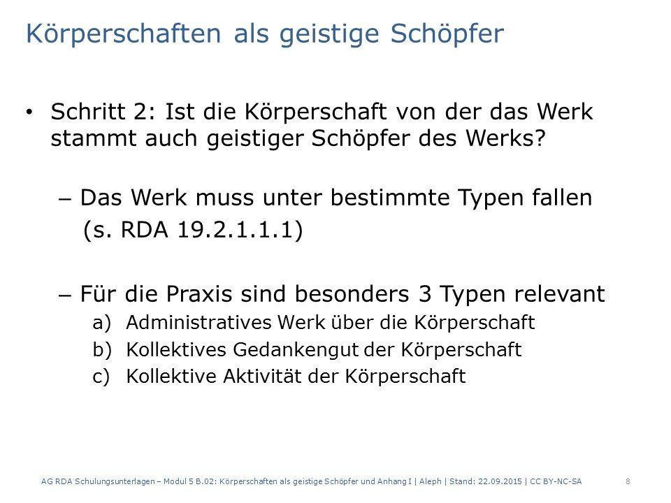 Körperschaften als geistige Schöpfer a)Administratives Werk über die Körperschaft – Behandelt bestimmte Aspekte der KS – Betrifft z.