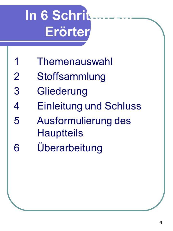 4 In 6 Schritten zur Erörterung 1Themenauswahl 2Stoffsammlung 3Gliederung 4Einleitung und Schluss 5Ausformulierung des Hauptteils 6 Überarbeitung