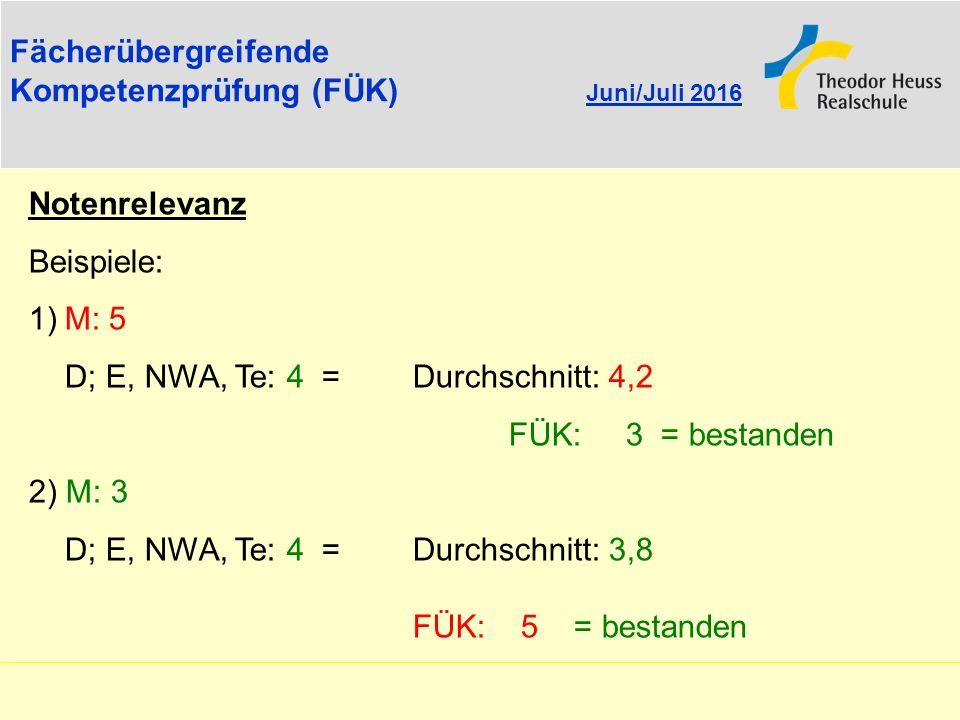 Fächerübergreifende Kompetenzprüfung (FÜK) Juni/Juli 2016 Notenrelevanz Beispiele: 1)M: 5 D; E, NWA, Te: 4 = Durchschnitt: 4,2 FÜK: 3 = bestanden 2) M