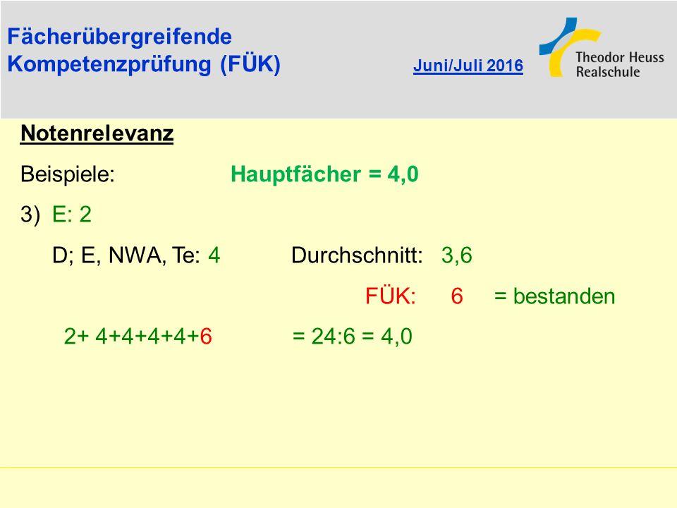 Fächerübergreifende Kompetenzprüfung (FÜK) Juni/Juli 2016 Notenrelevanz Beispiele: Hauptfächer = 4,0 3) E: 2 D; E, NWA, Te: 4 Durchschnitt: 3,6 FÜK: 6