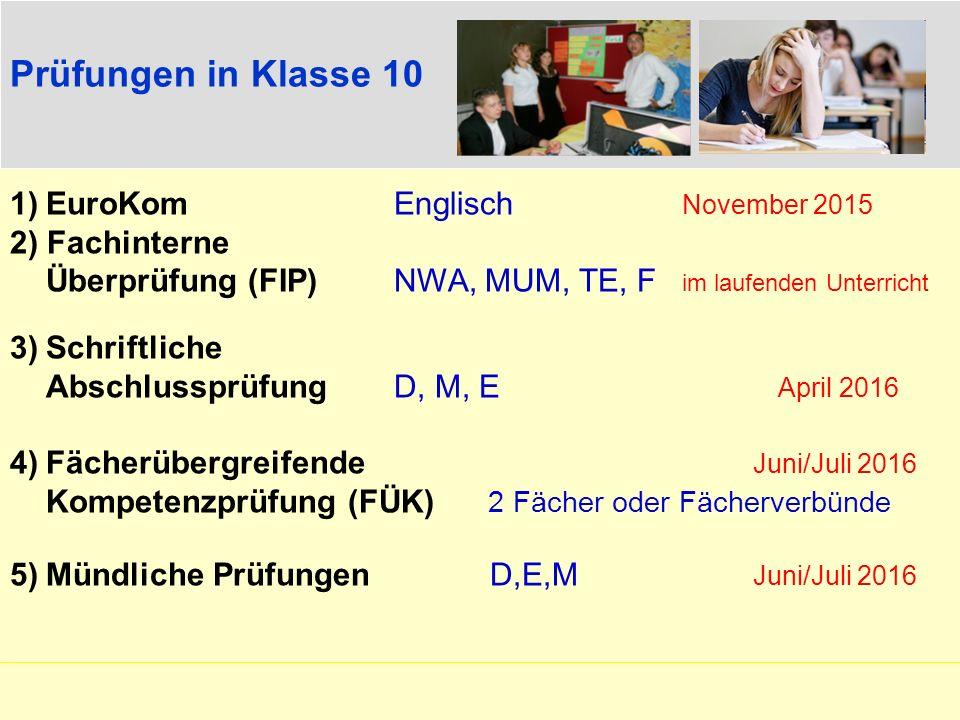 Prüfungen in Klasse 10 1)EuroKomEnglisch November 2015 2) Fachinterne Überprüfung (FIP) NWA, MUM, TE, F im laufenden Unterricht 3)Schriftliche Abschlu