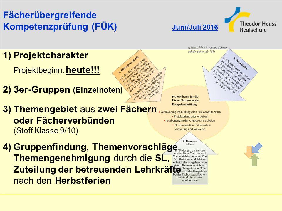 Fächerübergreifende Kompetenzprüfung (FÜK) Juni/Juli 2016 1)Projektcharakter Projektbeginn: heute!!! 2) 3er-Gruppen (Einzelnoten) 3) Themengebiet aus