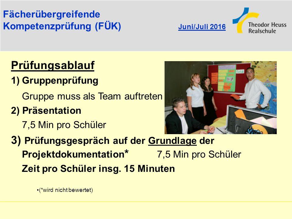 Fächerübergreifende Kompetenzprüfung (FÜK) Juni/Juli 2016 Prüfungsablauf 1)Gruppenprüfung Gruppe muss als Team auftreten 2) Präsentation 7,5 Min pro S