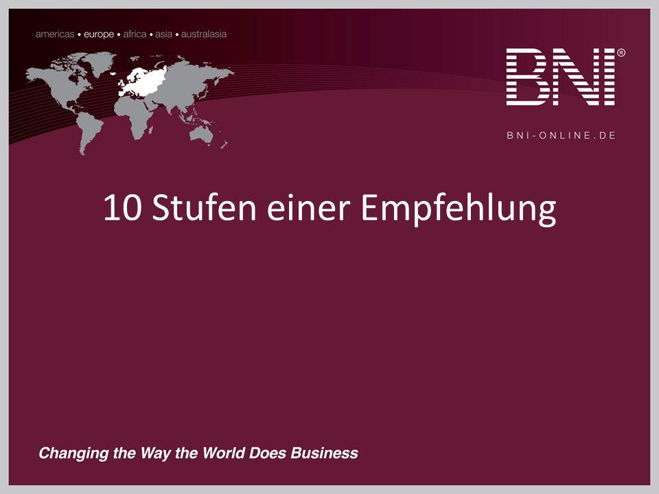 1.Übergabe der Empfehlung / EngagementR. 2. Rückfrage bei Geber nach Details 3.