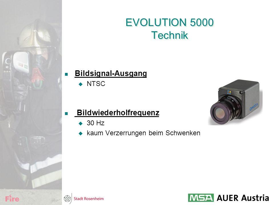 EVOLUTION 5000 Technik Bildsignal-Ausgang  NTSC Bildwiederholfrequenz  30 Hz  kaum Verzerrungen beim Schwenken
