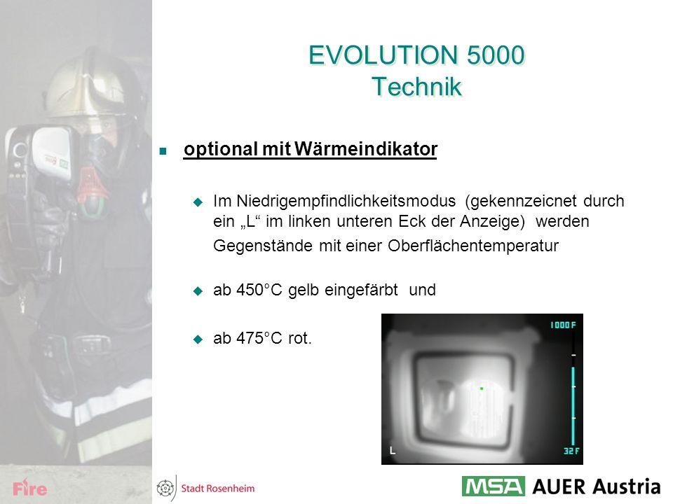 """EVOLUTION 5000 Technik optional mit Wärmeindikator  Im Niedrigempfindlichkeitsmodus (gekennzeicnet durch ein """"L"""" im linken unteren Eck der Anzeige) w"""