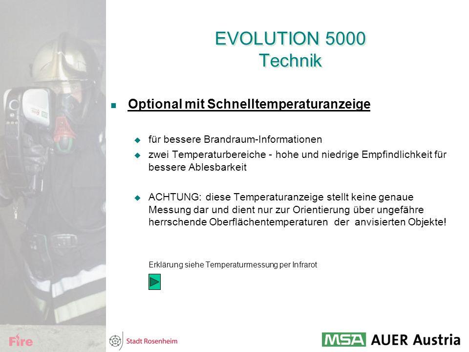 EVOLUTION 5000 Technik Optional mit Schnelltemperaturanzeige  für bessere Brandraum-Informationen  zwei Temperaturbereiche - hohe und niedrige Empfi