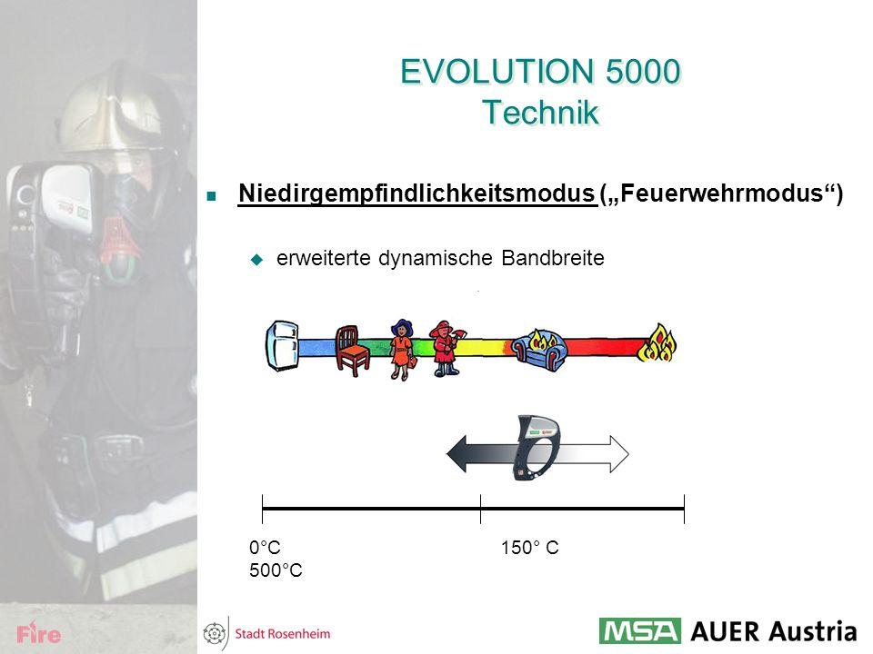 """EVOLUTION 5000 Technik Niedirgempfindlichkeitsmodus (""""Feuerwehrmodus"""")  erweiterte dynamische Bandbreite 0°C 150° C 500°C"""