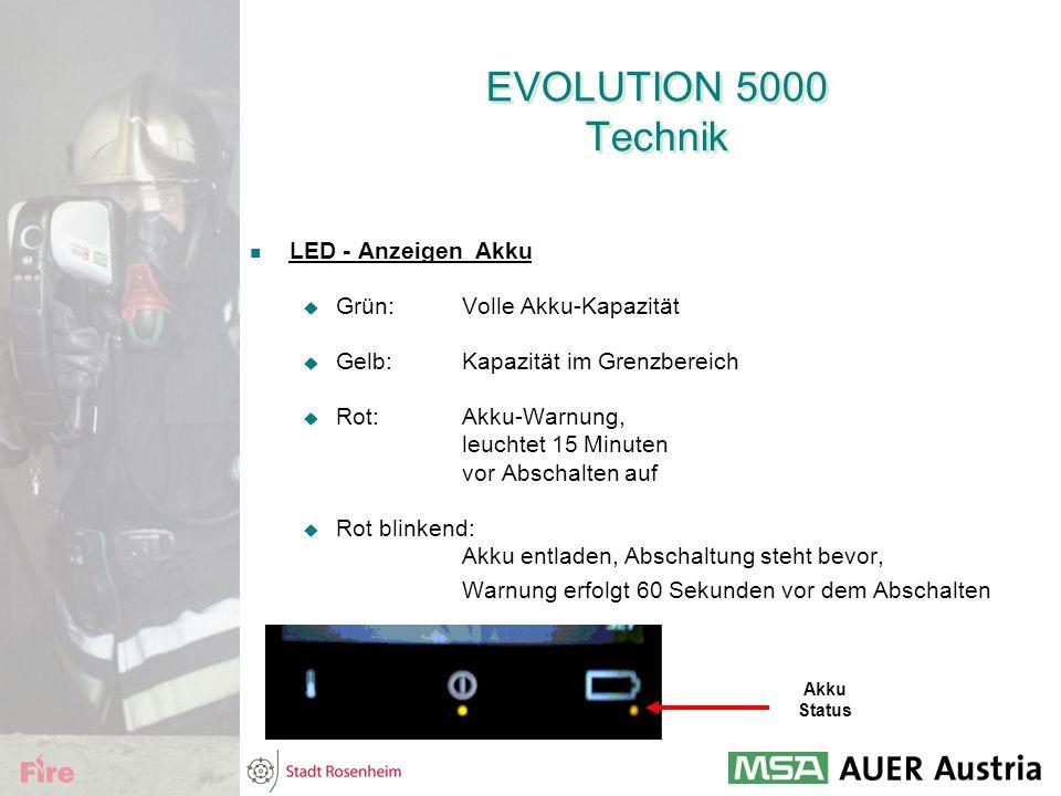 EVOLUTION 5000 Technik LED - Anzeigen Akku  Grün:Volle Akku-Kapazität  Gelb:Kapazität im Grenzbereich  Rot:Akku-Warnung, leuchtet 15 Minuten vor Ab