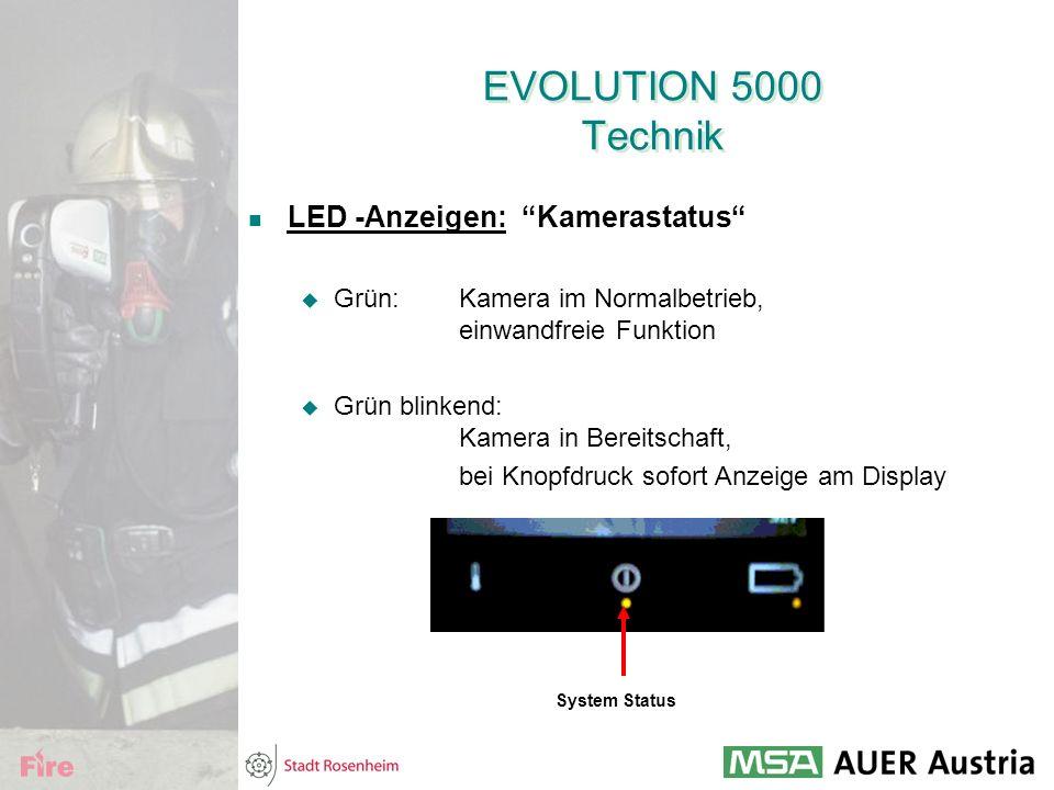 """EVOLUTION 5000 Technik LED -Anzeigen: """"Kamerastatus""""  Grün:Kamera im Normalbetrieb, einwandfreie Funktion  Grün blinkend: Kamera in Bereitschaft, be"""
