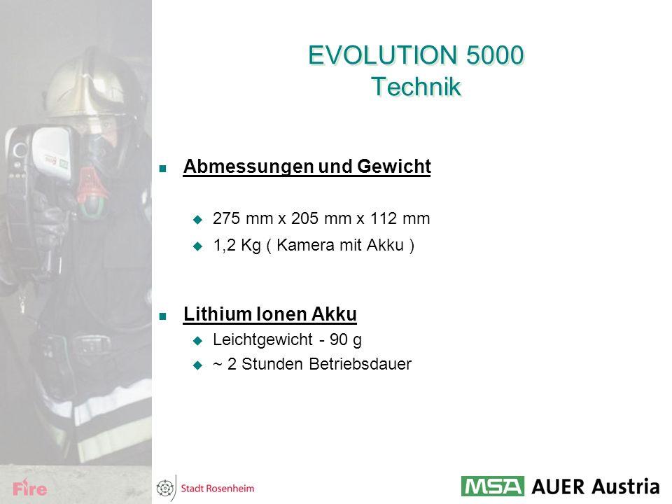 EVOLUTION 5000 Technik Abmessungen und Gewicht  275 mm x 205 mm x 112 mm  1,2 Kg ( Kamera mit Akku ) Lithium Ionen Akku  Leichtgewicht - 90 g  ~ 2