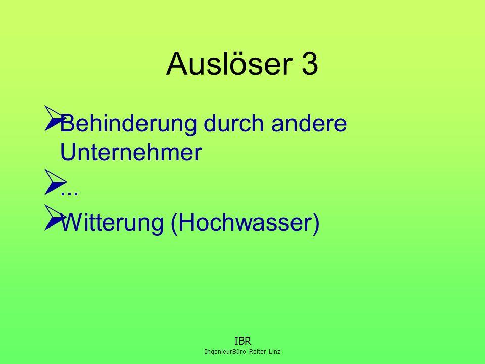 IBR IngenieurBüro Reiter Linz Auslöser 3  Behinderung durch andere Unternehmer ...  Witterung (Hochwasser)