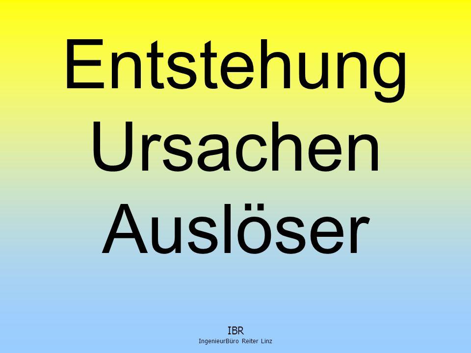 IBR IngenieurBüro Reiter Linz Auslöser 1  Störungen im Bauablauf  keine Pläne – oder falsch oder unvollständig oder zu spät (Statiker)  verschobene Bauzeit – 11 statt 05  Änderungen durch AG/WB  Denkmalamt tritt plötzlich auf