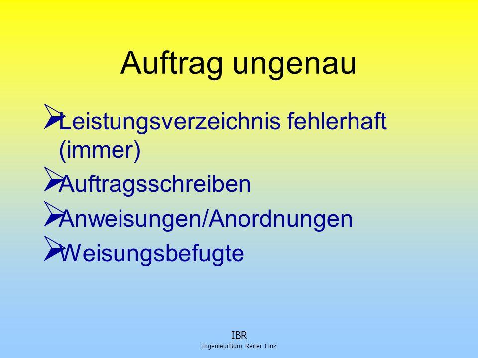 IBR IngenieurBüro Reiter Linz Auftrag ungenau  Leistungsverzeichnis fehlerhaft (immer)  Auftragsschreiben  Anweisungen/Anordnungen  Weisungsbefugt
