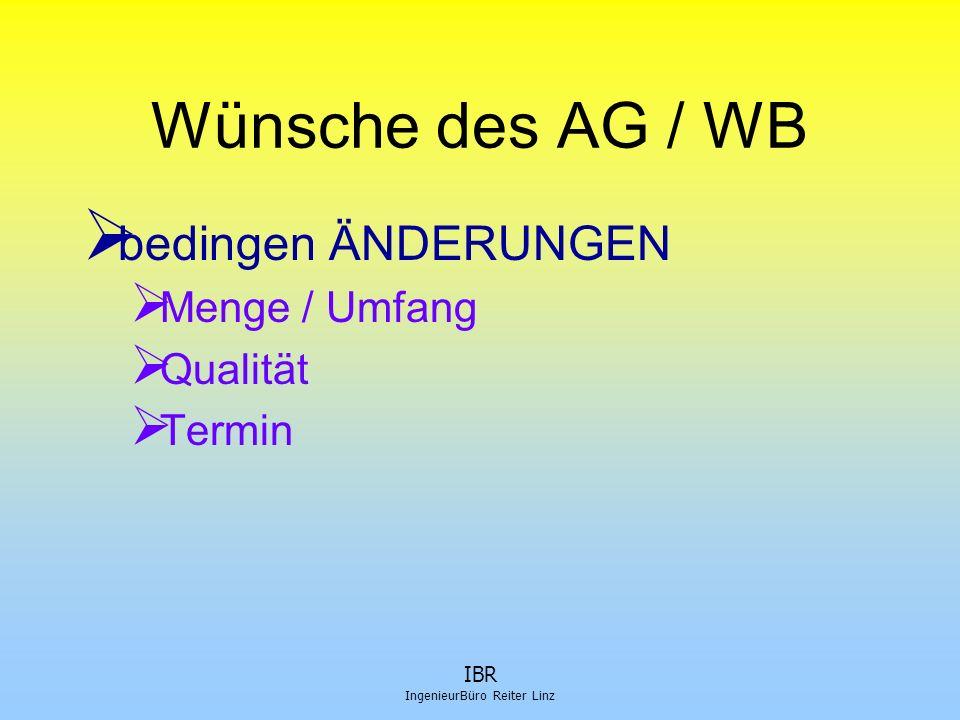 IBR IngenieurBüro Reiter Linz Planungsstand  nicht dem Baufortschritt entsprechend (also hintennach)  Ursachen dafür  Arch.Pläne erst 1:100  verzögerte Entscheidung AG (wer ist BMST, Statiker, FPL,...)