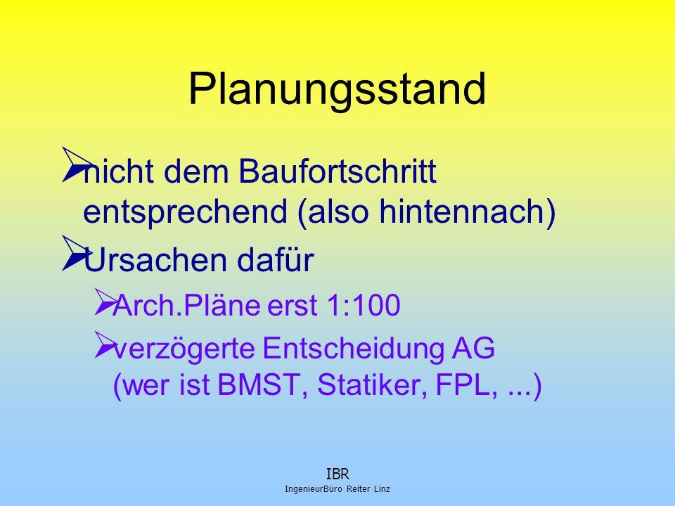 IBR IngenieurBüro Reiter Linz Planungsstand  nicht dem Baufortschritt entsprechend (also hintennach)  Ursachen dafür  Arch.Pläne erst 1:100  verzö